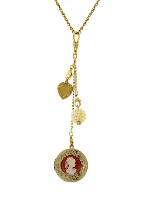 1928 Jewelry 32 Inch Gold Tone Carnelian Cameo