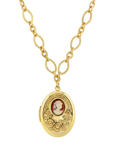 1928 Jewelry 16 Inch Adjustable Gold Tone Carnelian