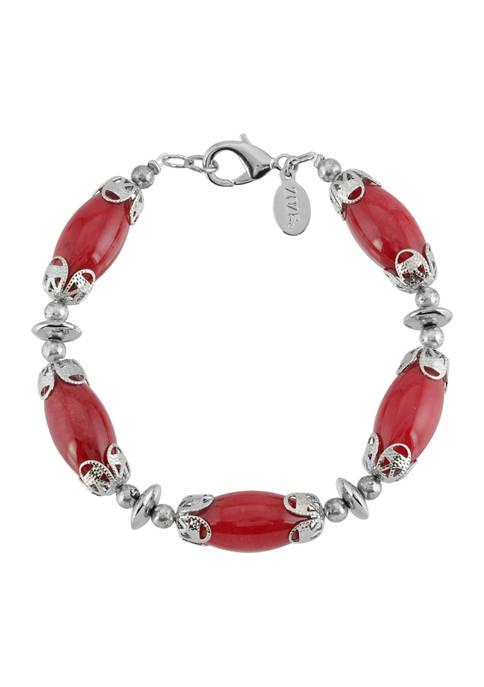 1928 Jewelry Silver Tone Red Carnelian Stone Bracelet