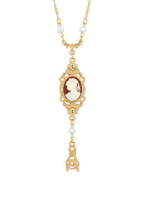 1928 Jewelry 24 Inch Gold Tone Carnelian Oval