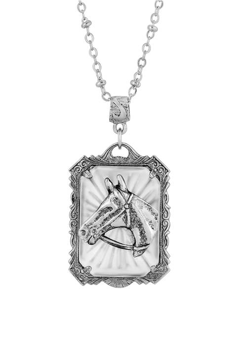 1928 Jewelry 24 Inch Pewter Lalique Rectangle Horse