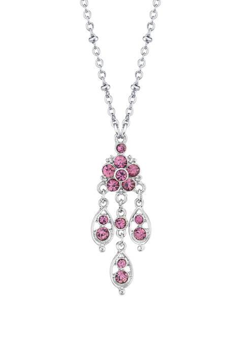 1928 Jewelry 16 Inch Silver Tone Purple Chandelier