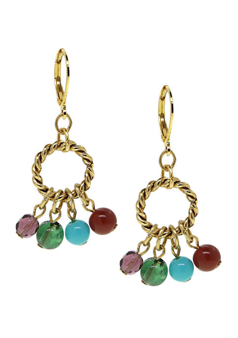 14 Karat Gold Dipped Hoop Multi Color Drop Beads Earring