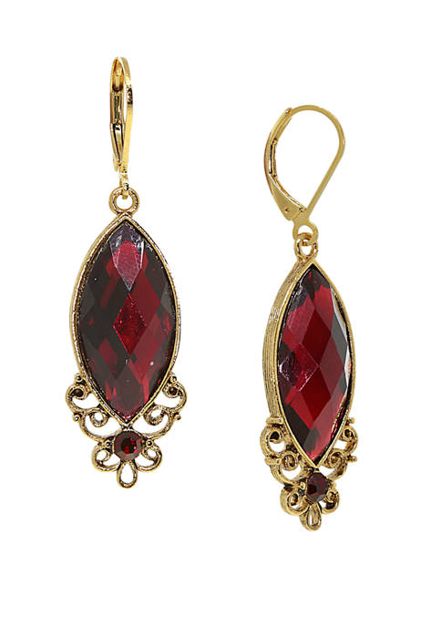 1928 Jewelry Gold-Tone Red Filigree Drop Earrings