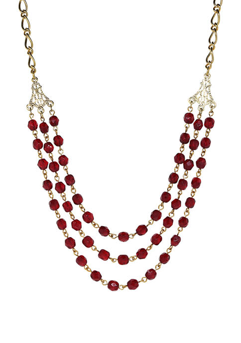 Gold-Tone Red 3 Strand Necklace