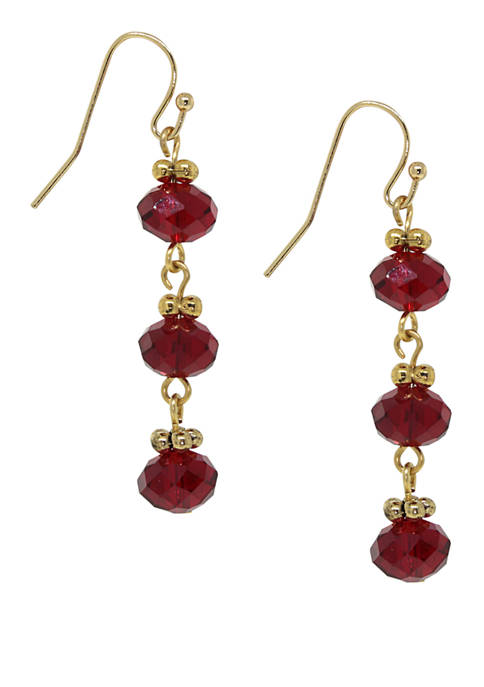 1928 Jewelry Gold Tone Red Bead Linear Earring