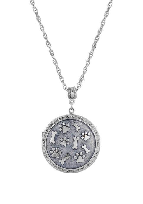 1928 Jewelry Silver Tone Blue Enamel Round Paw