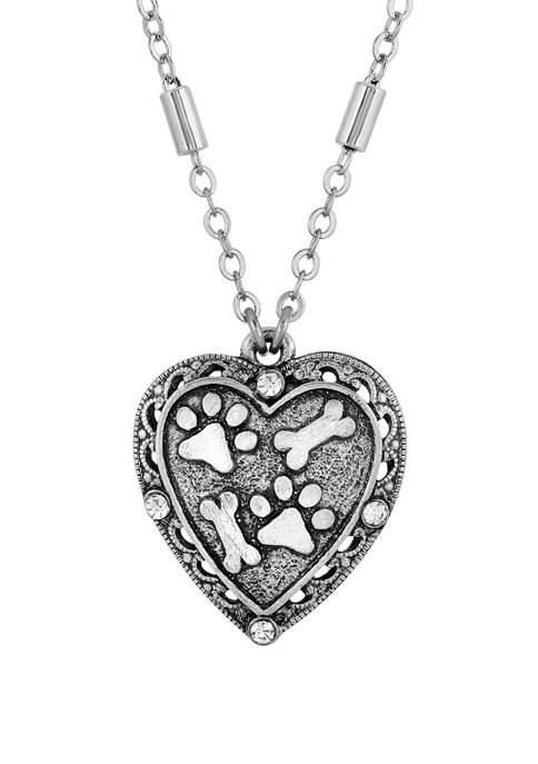 1928 Jewelry Silver Tone Heart Paw and Bones