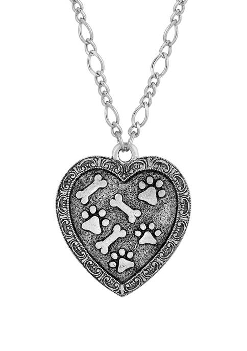 1928 Jewelry Pewter Heart Paw and Bones Necklace