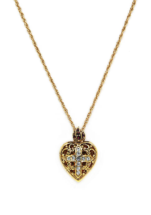 1928 Jewelry 14k Gold Dipped Crystal Heart Cross