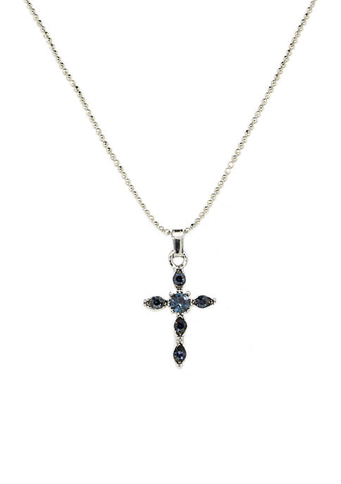 1928 Jewelry Silver Tone Blue Crystal Cross Pendant