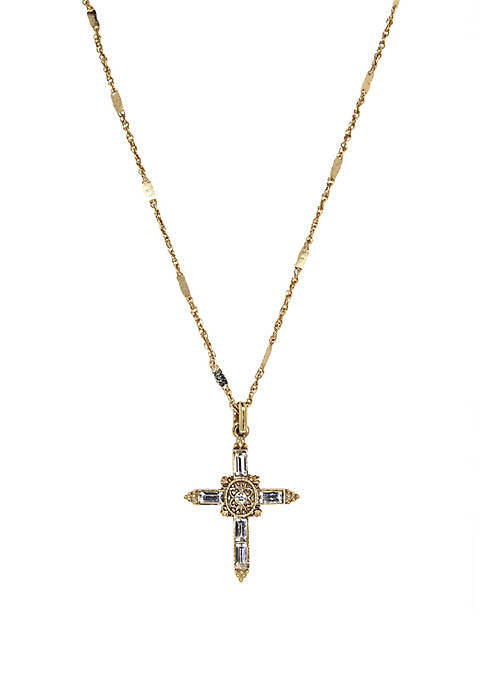 1928 Jewelry 14K Gold Dipped Crystal Cross Pendant