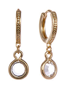 Gold-Tone Hoop Pierced Earrings with Stone Drop