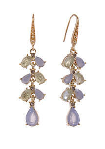 Gold Tone Linear Pierced Earrings with Opal Stone Accents