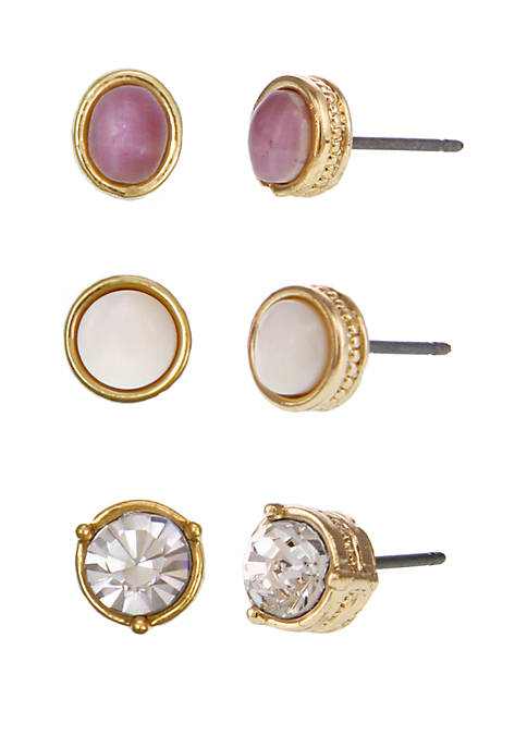 Laundry by Shelli Segal Gold-Tone Trio Stud Pierced