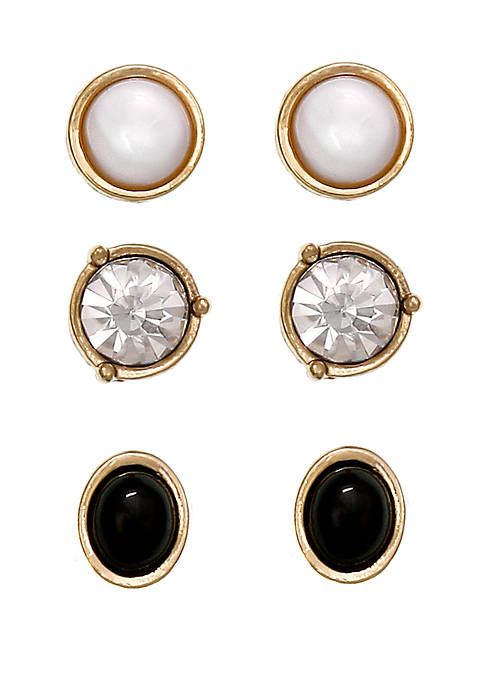 Laundry by Shelli Segal Gold Tone Trio Stud