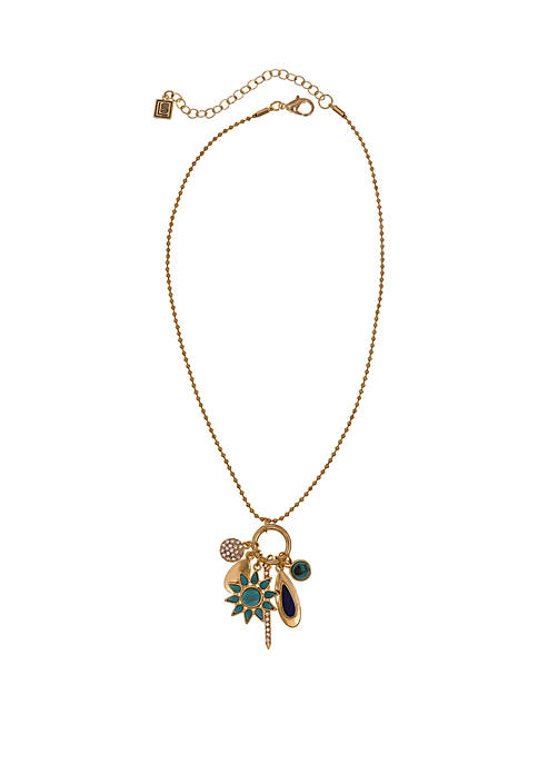 Gold Tone Ball Chain Necklace with Charms