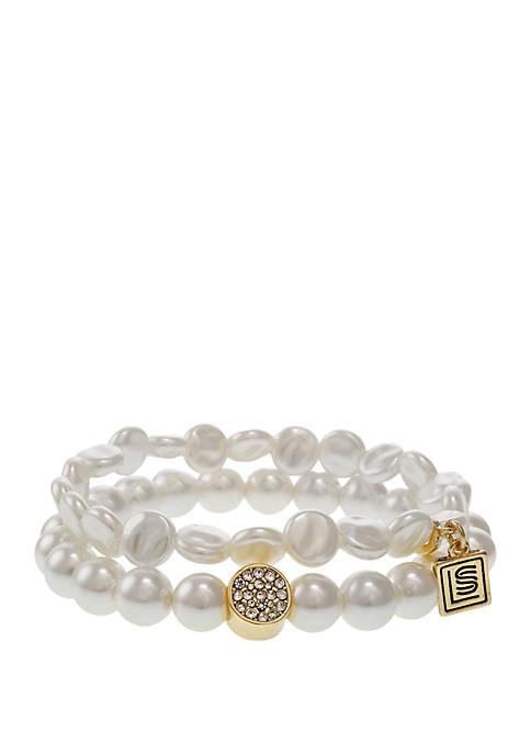 2 Row Pearl Stretch Bracelet