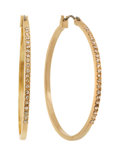 Laundry by Shelli Segal Large Pave Hoop Earrings