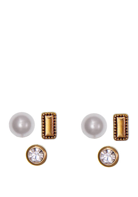 Laundry by Shelli Segal 3 Pair Pearl Earring