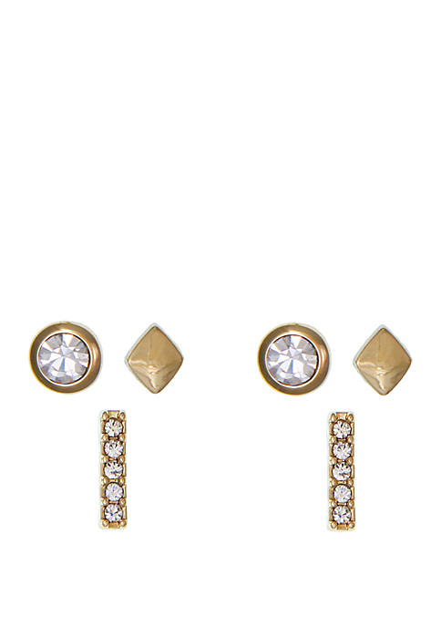 Gold-Tone Trio Stud Pierced Earrings with Glass Crystal Stone Set