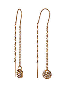 Laundry by Shelli Segal Gold-Tone Threader Pierced Earrings with Pave Disc Drop