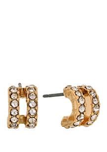 Laundry by Shelli Segal Gold Tone Double Pave Mini Hoop Pierced Earrings