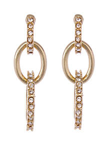 Laundry by Shelli Segal Gold Tone Pave Link Drop Pierced Earrings with Glass Crystal Stones