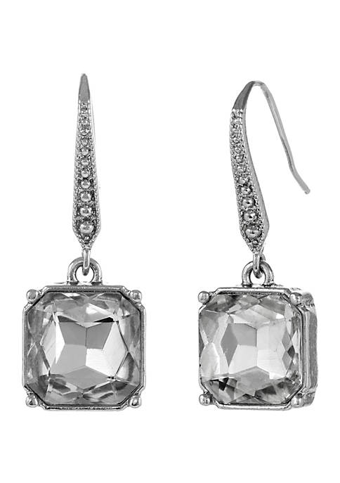 Silver Tone Drop Pierced Earrings with Square Glass Stone