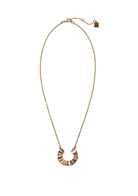 Gold-Tone Chain Necklace with Ruffle Pendant