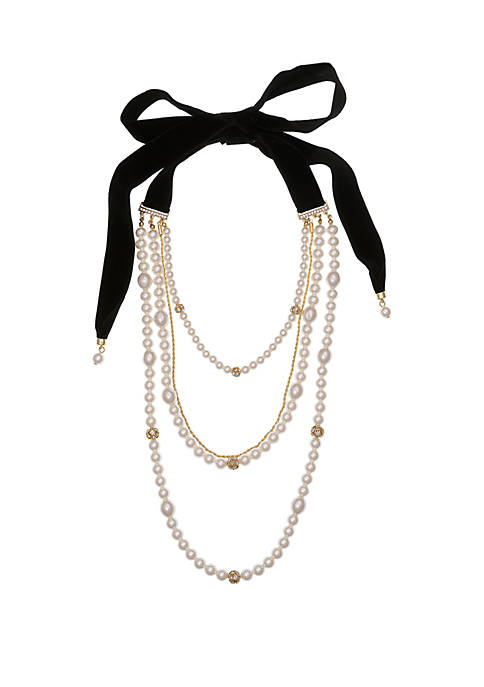 Multi Strand Pearl Necklace with Rondells and Black Velvet Tie Back