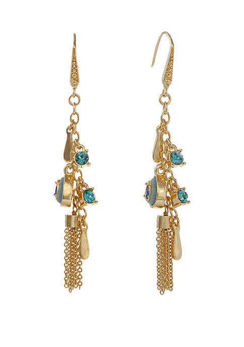 Gold Tone Linear Tassel Pierced Earrings with Stone Accents