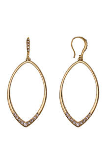 Laundry by Shelli Segal Gold Tone Teardrop Pierced Earrings with Glass Pave Stone Bottom