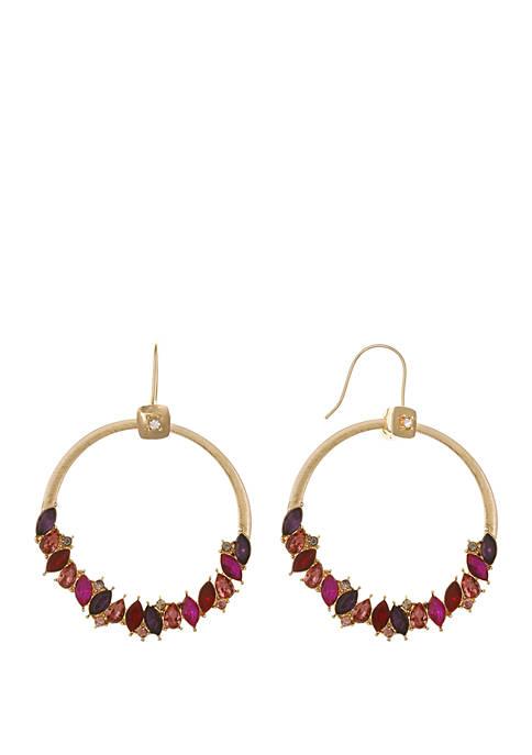 Gold Tone Stone Cluster Hoop Earrings