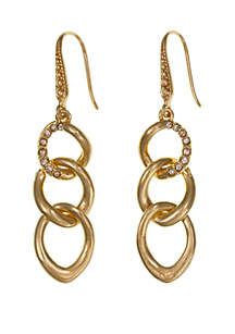 Laundry by Shelli Segal Gold Tone Pave Link Drop Earrings