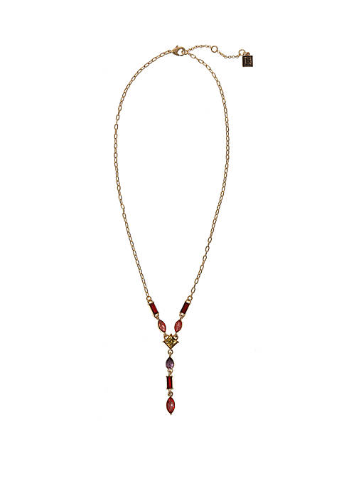 Gold Tone Tonal Stone Y Necklace