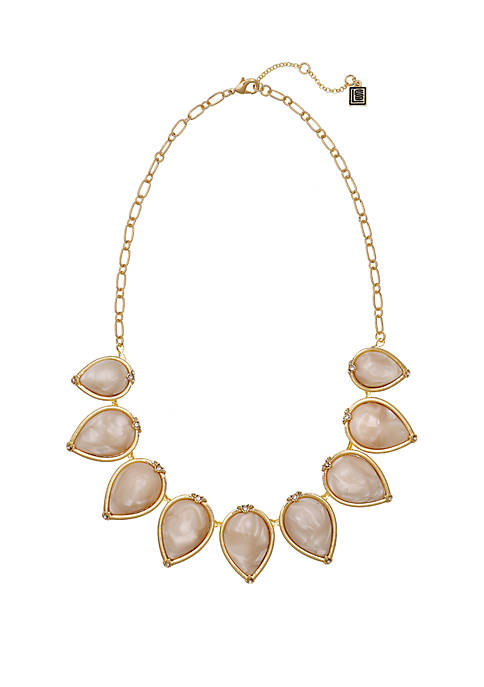 Gold Tone Mother of Pearl Necklace