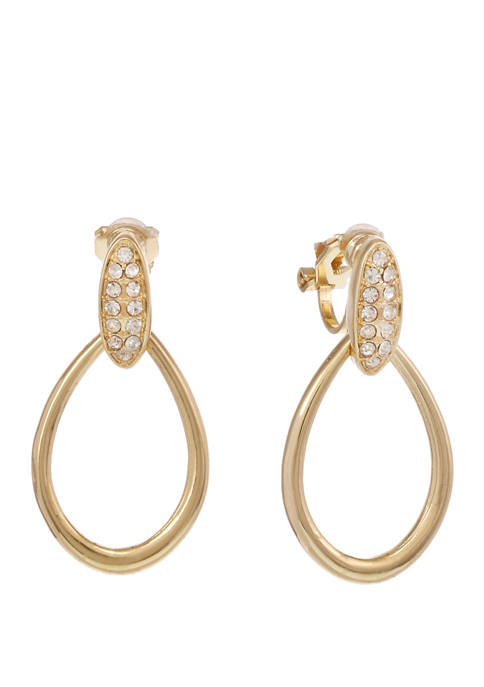 Gold Tone Teardrop Clip Earrings with Stone Top
