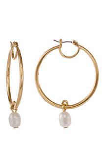 Laundry by Shelli Segal Gold Tone Hoop Earrings with Teardrop Pearl