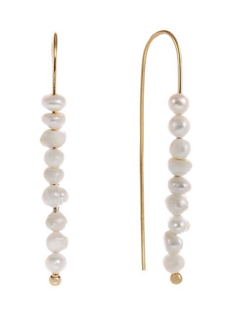 Gold Tone Pearl Threader Pierced Earrings