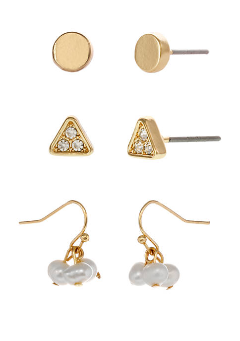 Gold Tone Trio Pierced Earrings with Pearl and Crystal Stone Accents