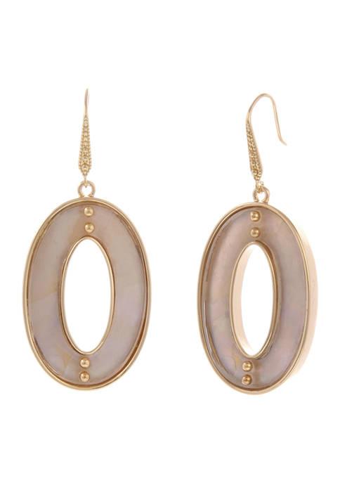 Oval Drop Pierced Earrings with Acrylic Inlay