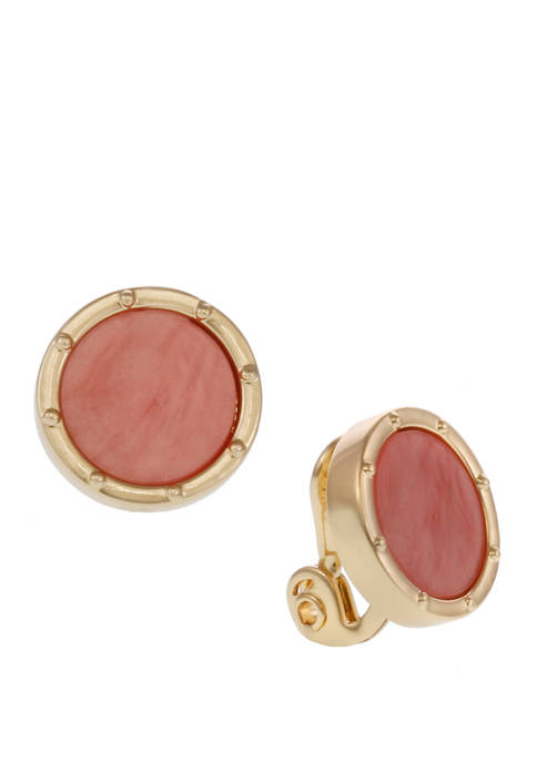 Gold Tone and Coral Button Clip Earrings
