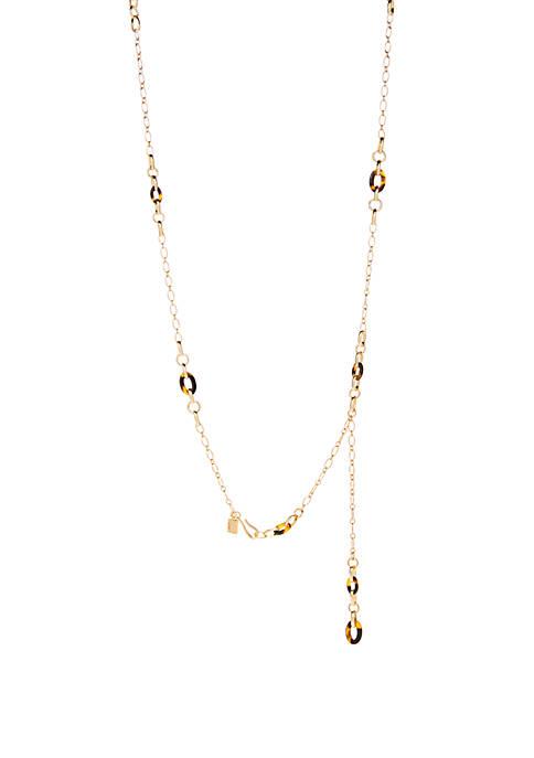 Gold Tone Tortoise Station Necklace