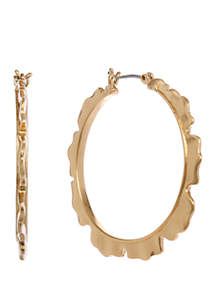 Laundry by Shelli Segal Gold Tone Ruffle Hoop Earrings