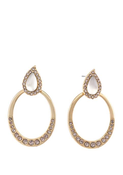 Gold Tone Teardrop Earrings with Gray Stones