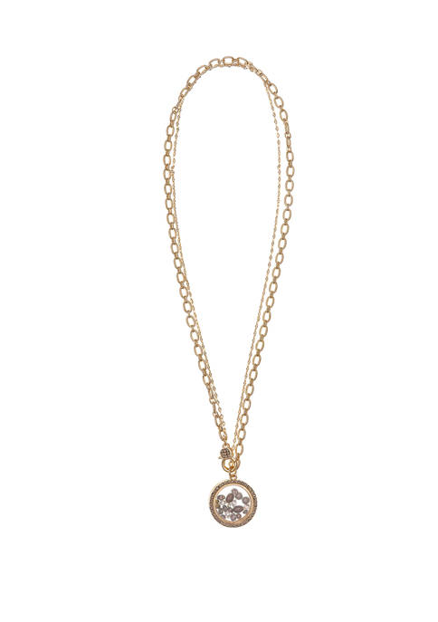Gold Tone Shaker Pendant Necklace with Gray Pearls