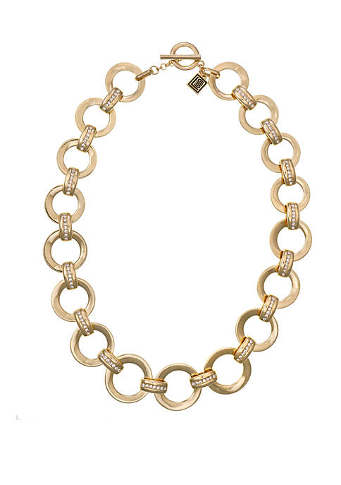 laundry Gold Tone Link Collar Necklace with Crystal