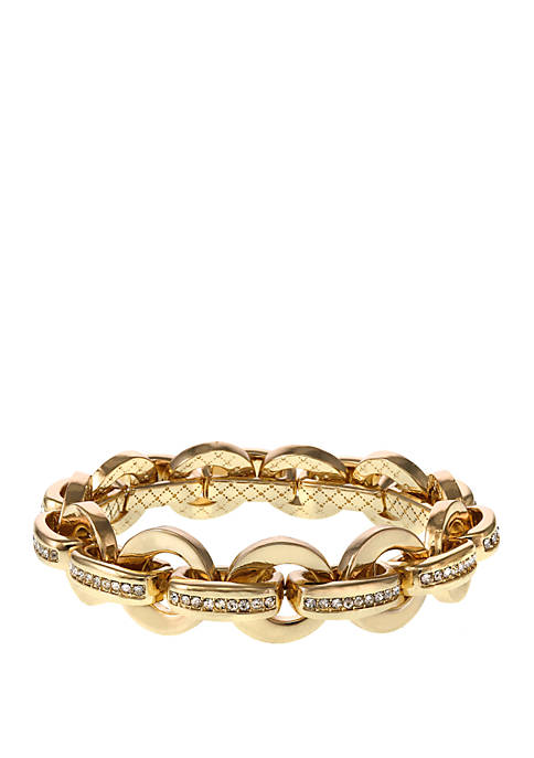 laundry Gold Tone Stretch Link Bracelet with Crystal