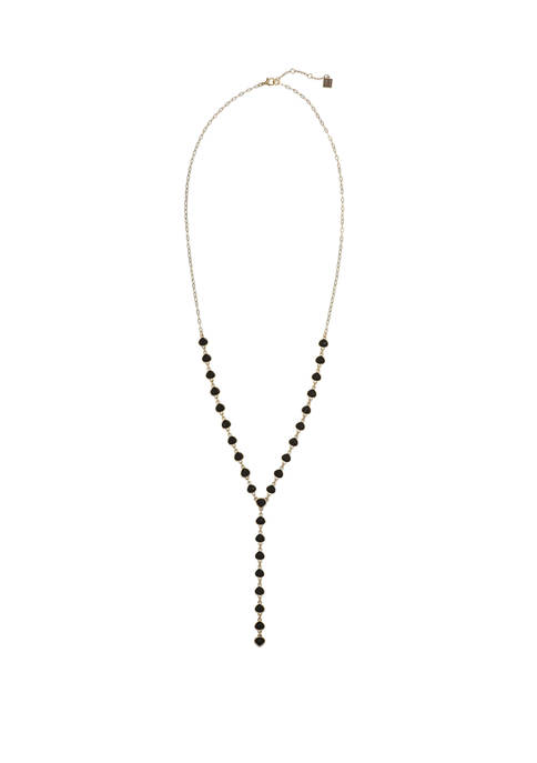 Gold Tone Y Necklace with Faceted Jet Stones